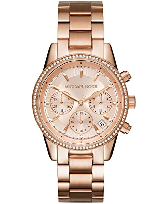 7a0e2a578d88 Amazon.com  Michael Kors Women s Ritz Rose Gold-Tone Watch MK6357  Watches