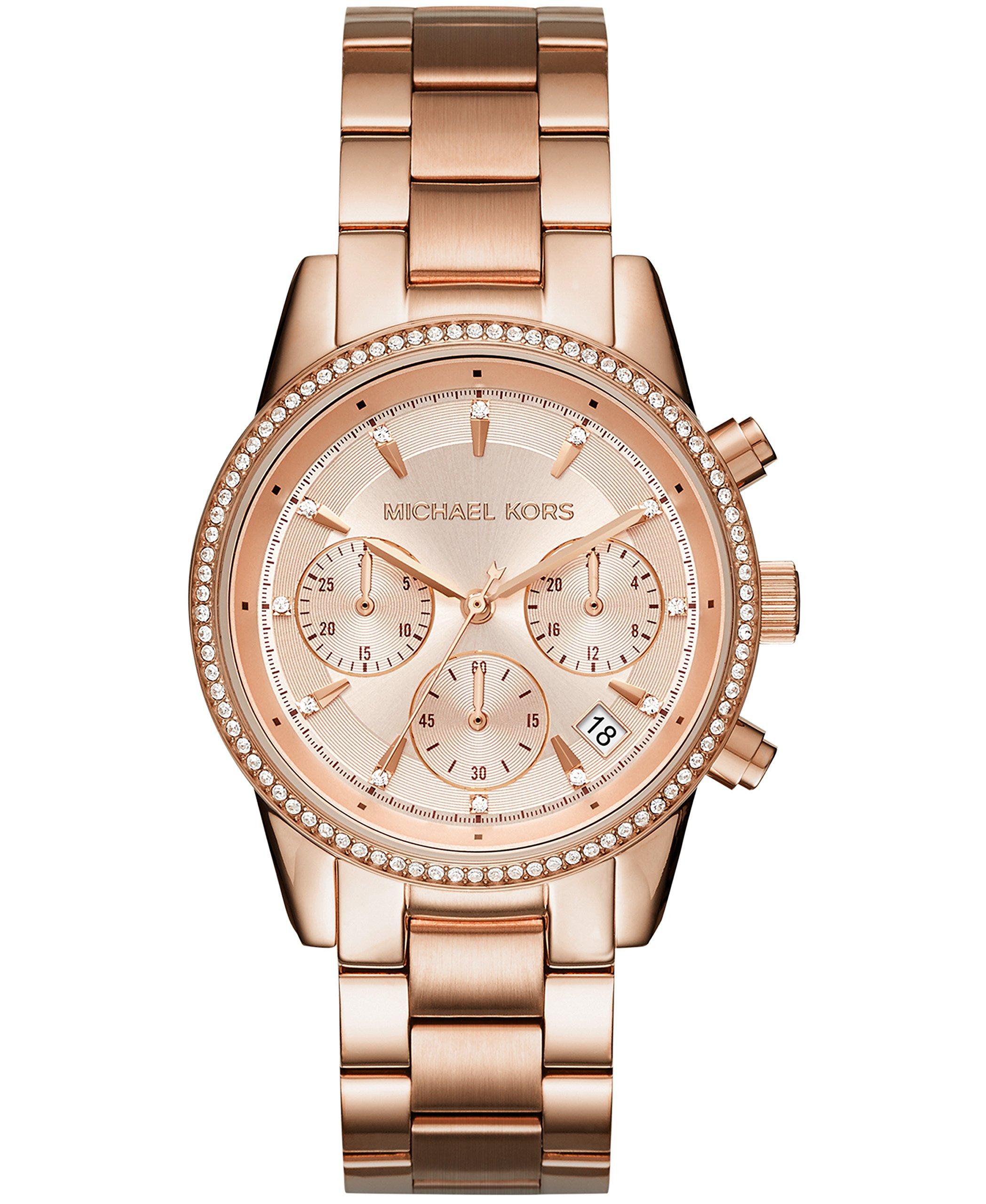 ویکالا · خرید  اصل اورجینال · خرید از آمازون · Michael Kors Women's Ritz Rose Gold-Tone Watch MK6357 wekala · ویکالا