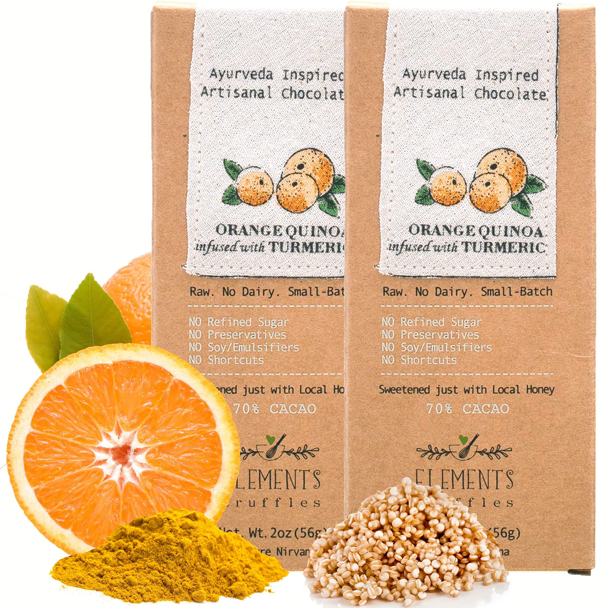 Elements Truffles Orange Quinoa Bar with Turmeric Infusion - Dairy Free Chocolate Bar - Gluten Free