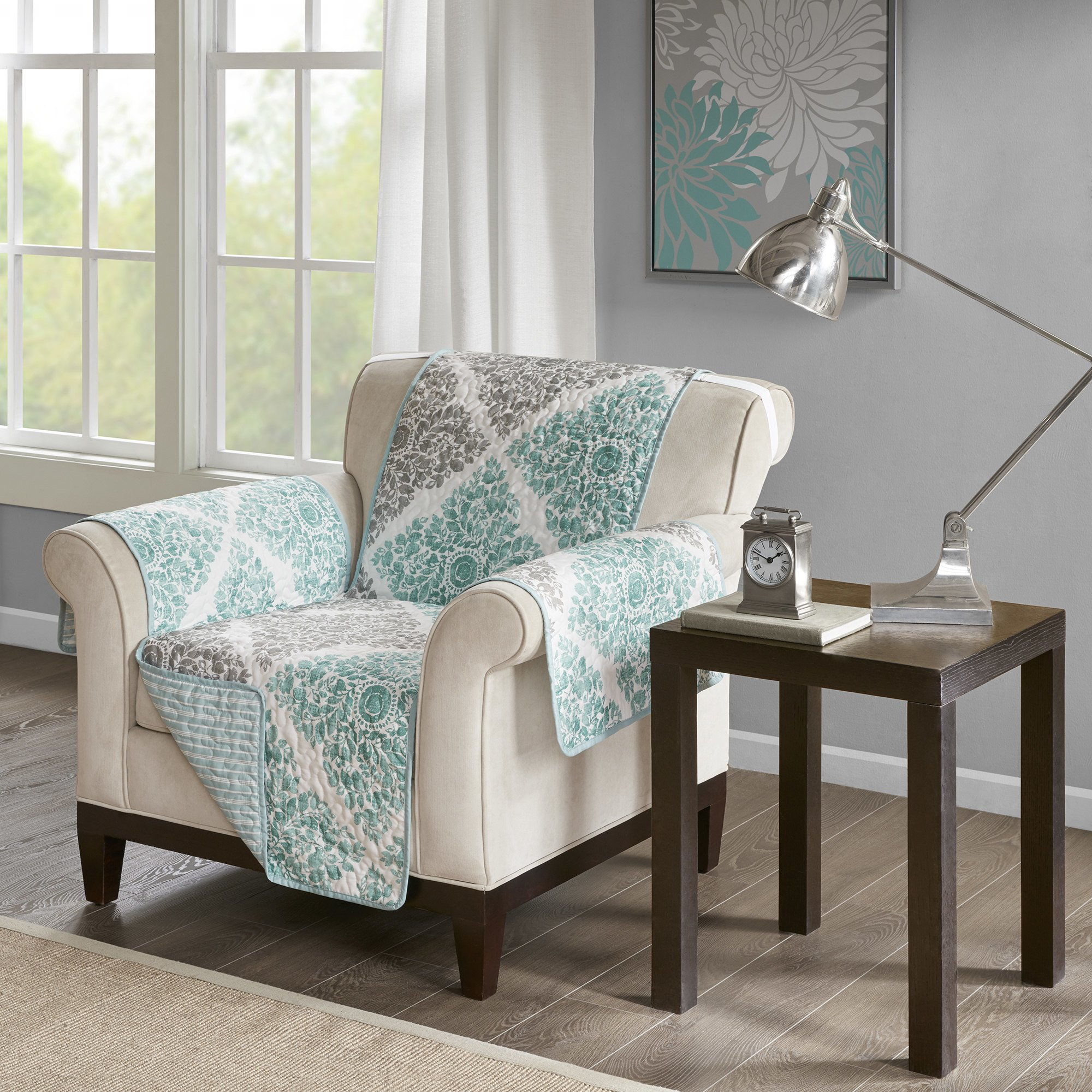 MN 1 Piece Grey Teal Floral Theme Chair Protector, Geometric Bright Color Flower Pattern Couch Protection Flowers Leaves Furniture Protection Cover Pets Animals Covers Nature Motif, Polyester