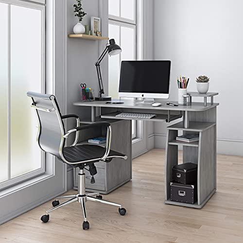 Techni Mobili Complete Computer Workstation Desk Grey/Grey/Rectangle