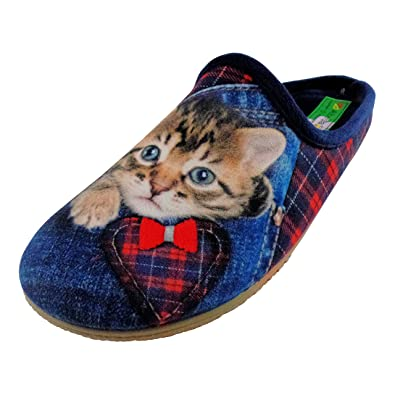 ALBEROLA Hausschuh Pantoffel Helle Sohle Rote Katze - Oh JE A14104AS - EU 36-42 (38) riIDz