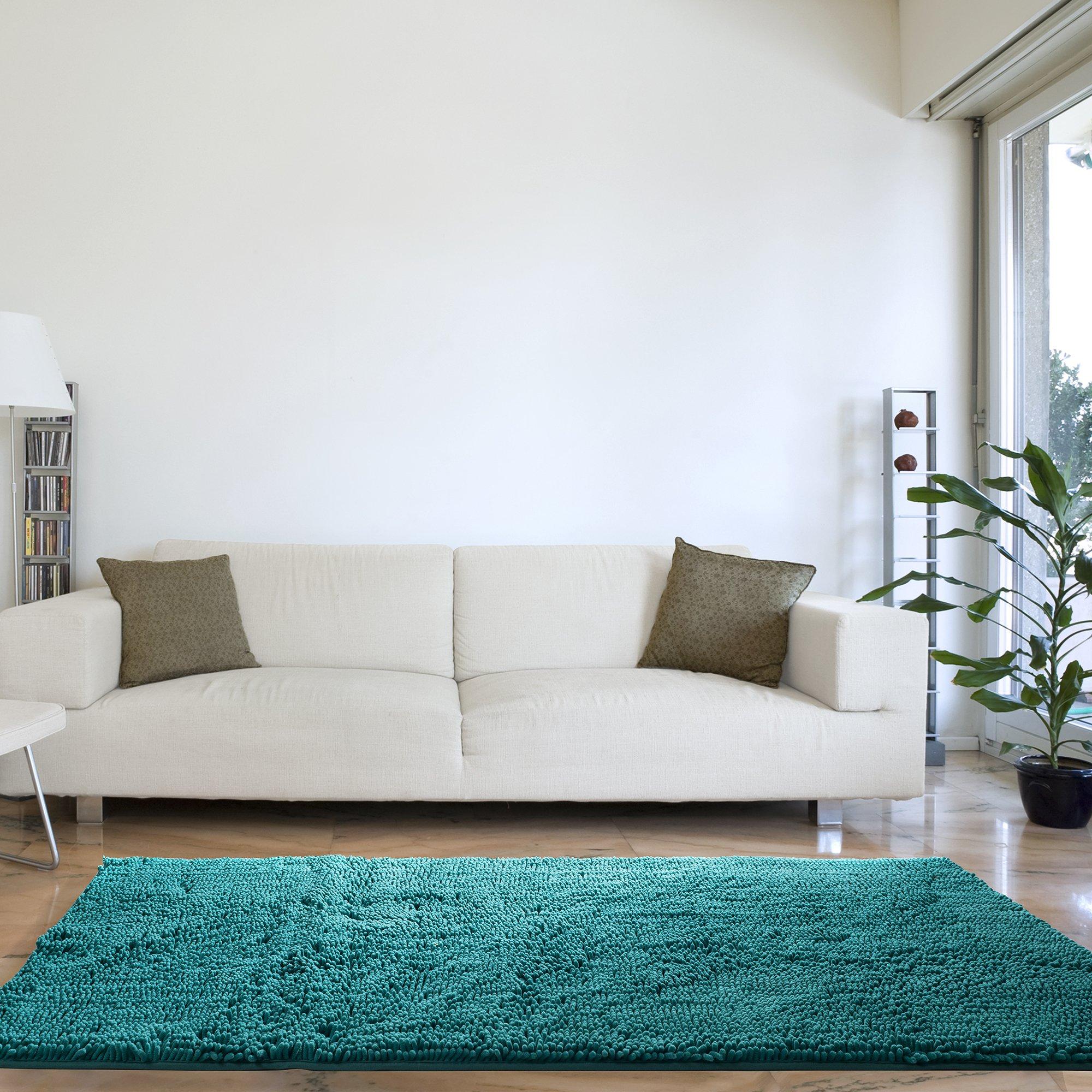 Lavish Home High Pile Shag Rug Carpet - Seafoam - 30x60