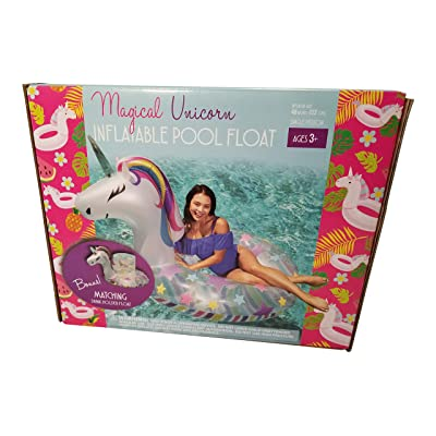Sun Pleasure Magical Unicorn Pool Float with Bonus Matching Drink Holder Float!: Toys & Games [5Bkhe0301775]