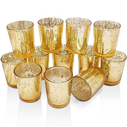 Amazon.com: Volens Gold Votive Candle Holders, Mercury Glass ...