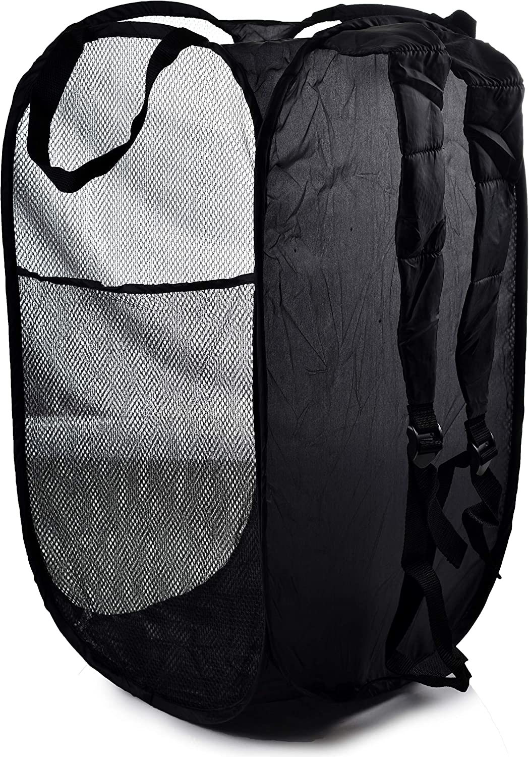 Backpack Mesh Popup Laundry Hamper - Portable, Durable Handles, Collapsible for Storage and Easy to Open. Folding Pop-Up Clothes Hampers are Great for The Kids Room, College Dorm or Travel. (Black)