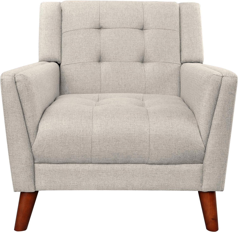 Christopher Knight Home Evelyn Mid Century Modern Fabric Arm Chair, Beige & Walnut (305538): Furniture & Decor
