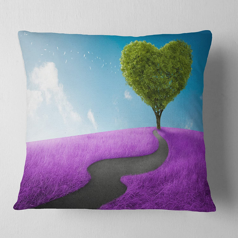 Designart CU7035-26-26 Heart Tree Abstract Throw Pillow 26' x 26'