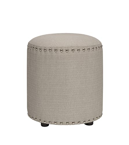 Hillsdale Furniture Laura Backless Vanity Stool, Gray Fabric