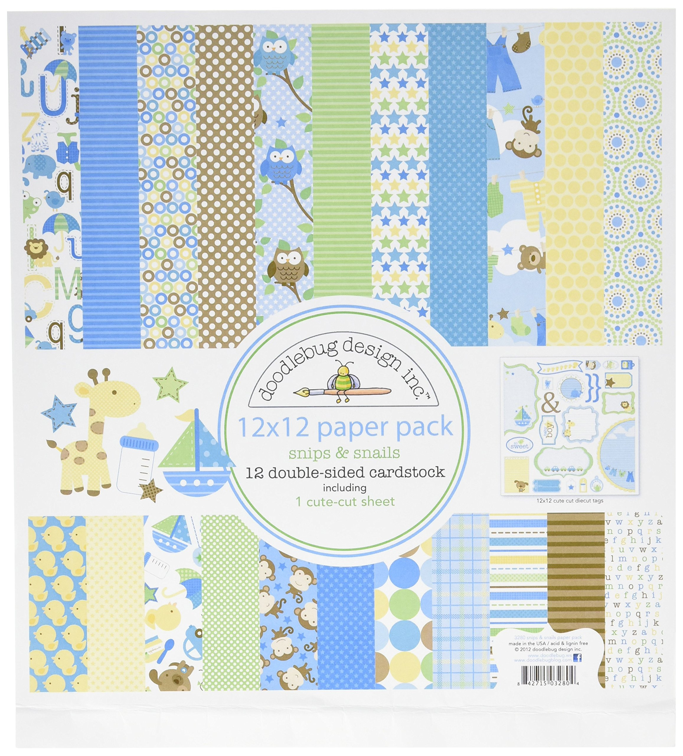 DOODLEBUG Snips and Snails Paper Pack, 12 by 12-Inch