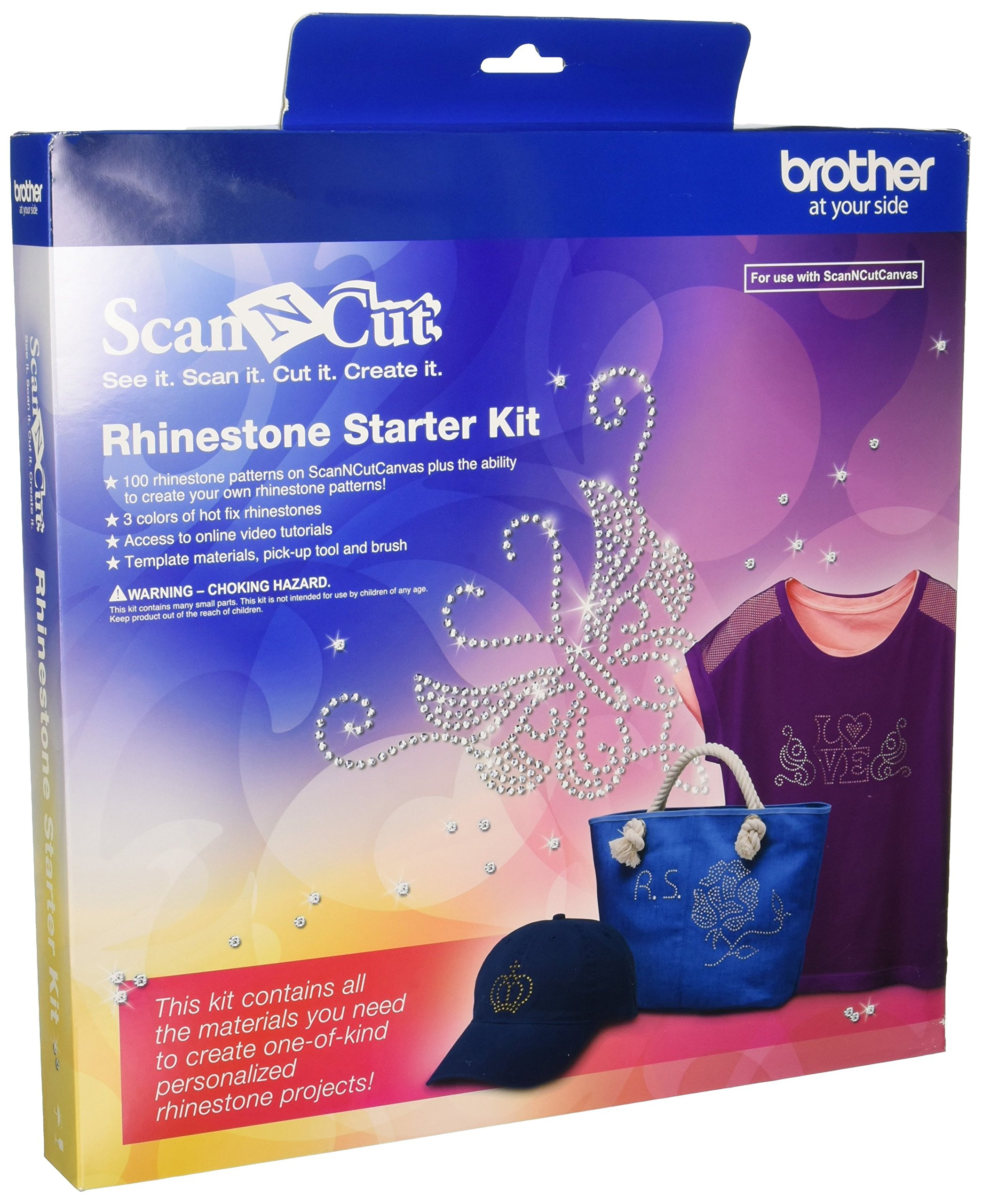 Brother CARSKIT1 Rhinestone Starter Kit, 100 Rhinestone Patterns, ScanNCut Canvas, 4 Types of Hot Fix Rhinestone, Access to Online Video Tutorials, Pick-Up-Tool & Brush by Brother