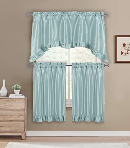 Duck River Textiles – Bella Solid Ruffle Kitchen Tier Valance Set Small Window Curtain for Cafe, Bath, Laundry, Bedroom – Aqua Blue