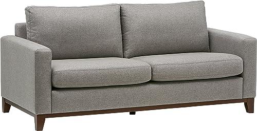 Rivet North End Exposed Wood Modern Sofa, 78 W, Grey Weave