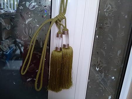 Tamaño grande verde pistacho borla cortina alzapaños Celeste Retro ...