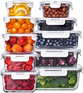 Glass Food Storage Containers with Lids - Glass Meal Prep Containers Glass Containers For Food Storage with Lids Glass Storage Containers with Lids Glass Food Containers Glass Lunch Containers 10 Pack