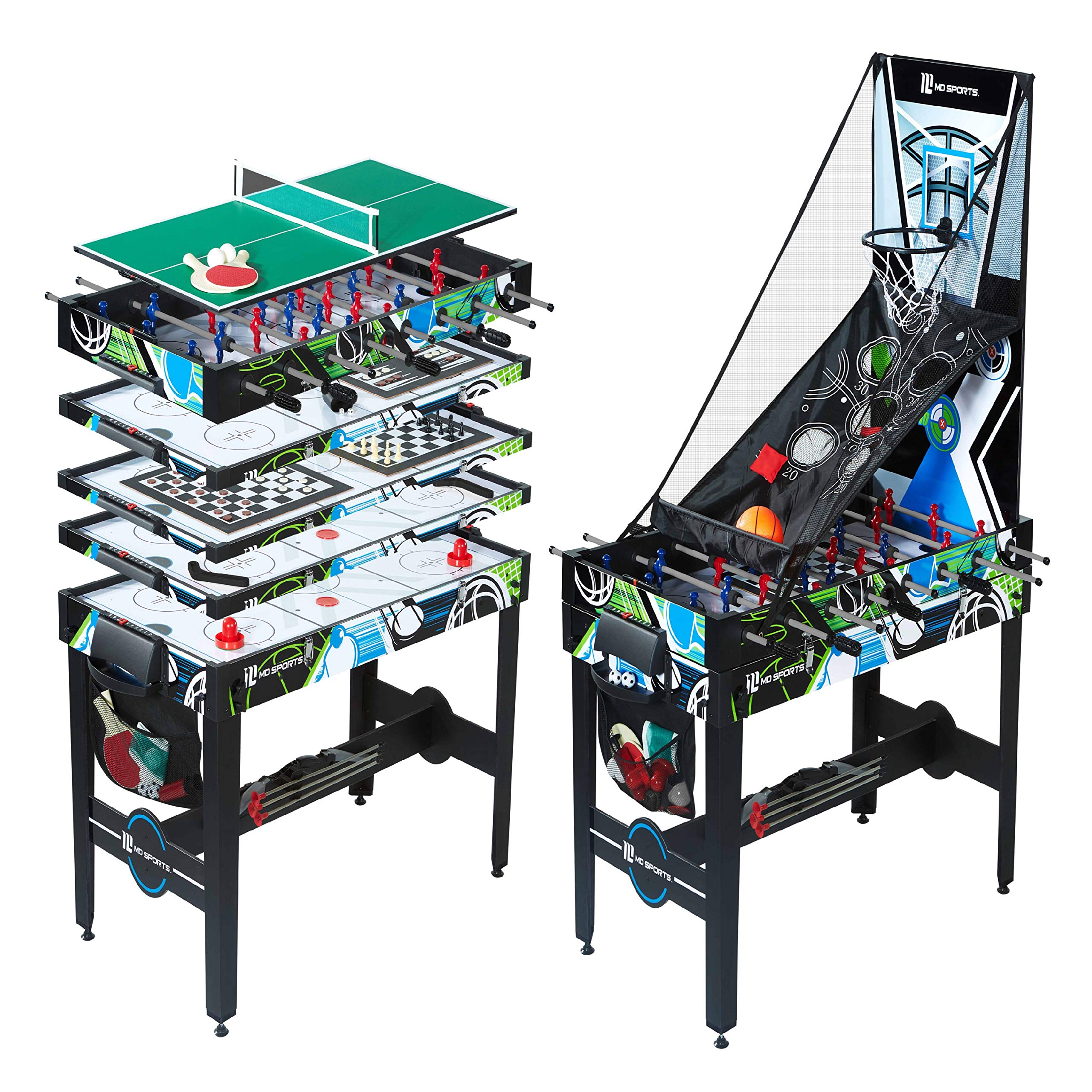 12-in-1 Multi Game Table Set for Adults, Kids, Families - Foosball Tables with 5 Conversion Tops, 4 Board Games, and Multiplayer Sports Games, All-Inclusive - Combination Arcade Games Kit by MD Sports