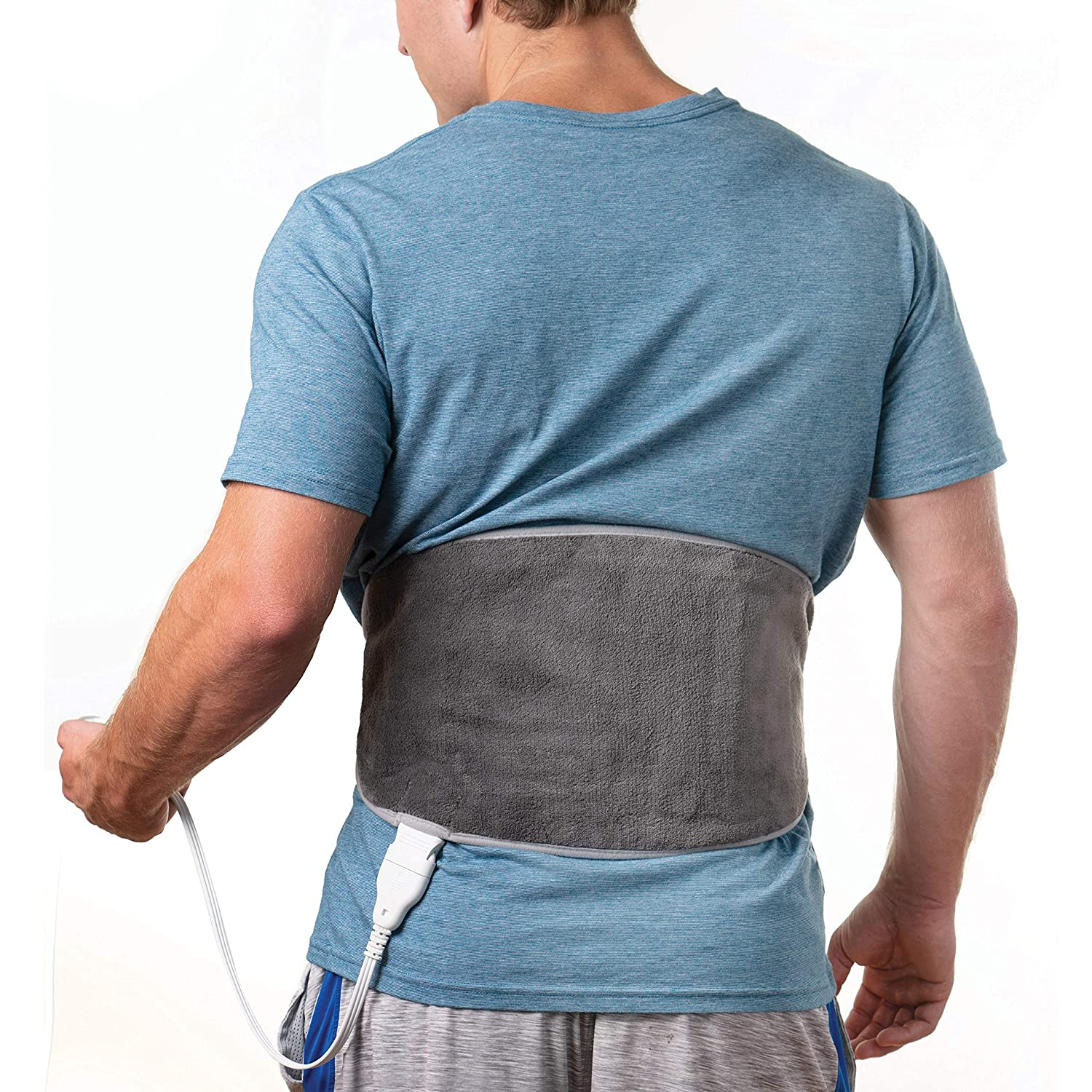 Pure Enrichment PureRelief Lumbar & Abdominal Heat Pad - Fast-Heating Technology with 4 Heat Settings, Adjustable Belt, Hot/Cold Gel Pack & Storage Bag - Ideal for Back Pain & Abdominal Cramps, Gray