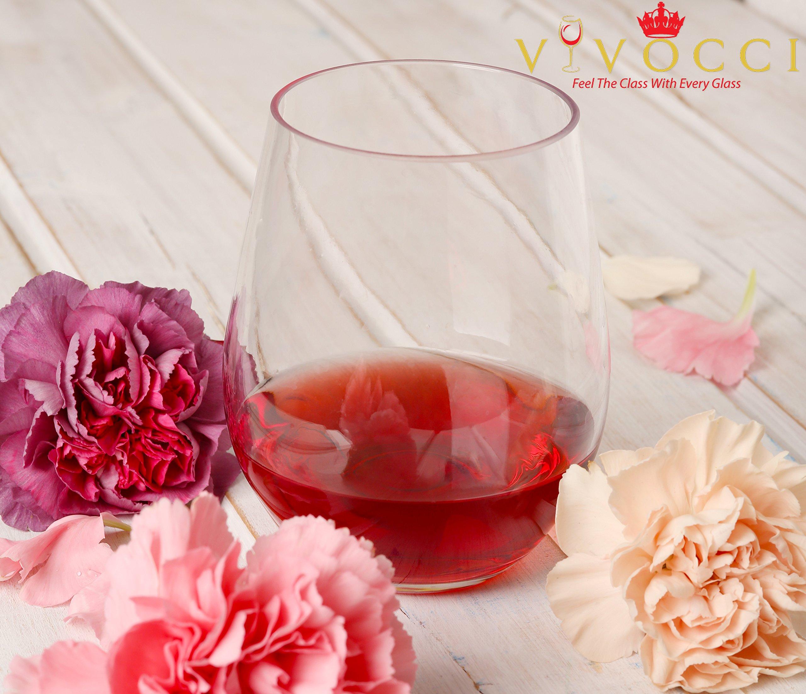 Vivocci Unbreakable Elegant Plastic Stemless Wine Glasses 20 oz | 100% Tritan Heavy Base | Shatterproof Glassware | Ideal For Cocktails & Scotch | Perfect For Homes & Bars | Dishwasher Safe | Set of 2 by Vivocci (Image #9)
