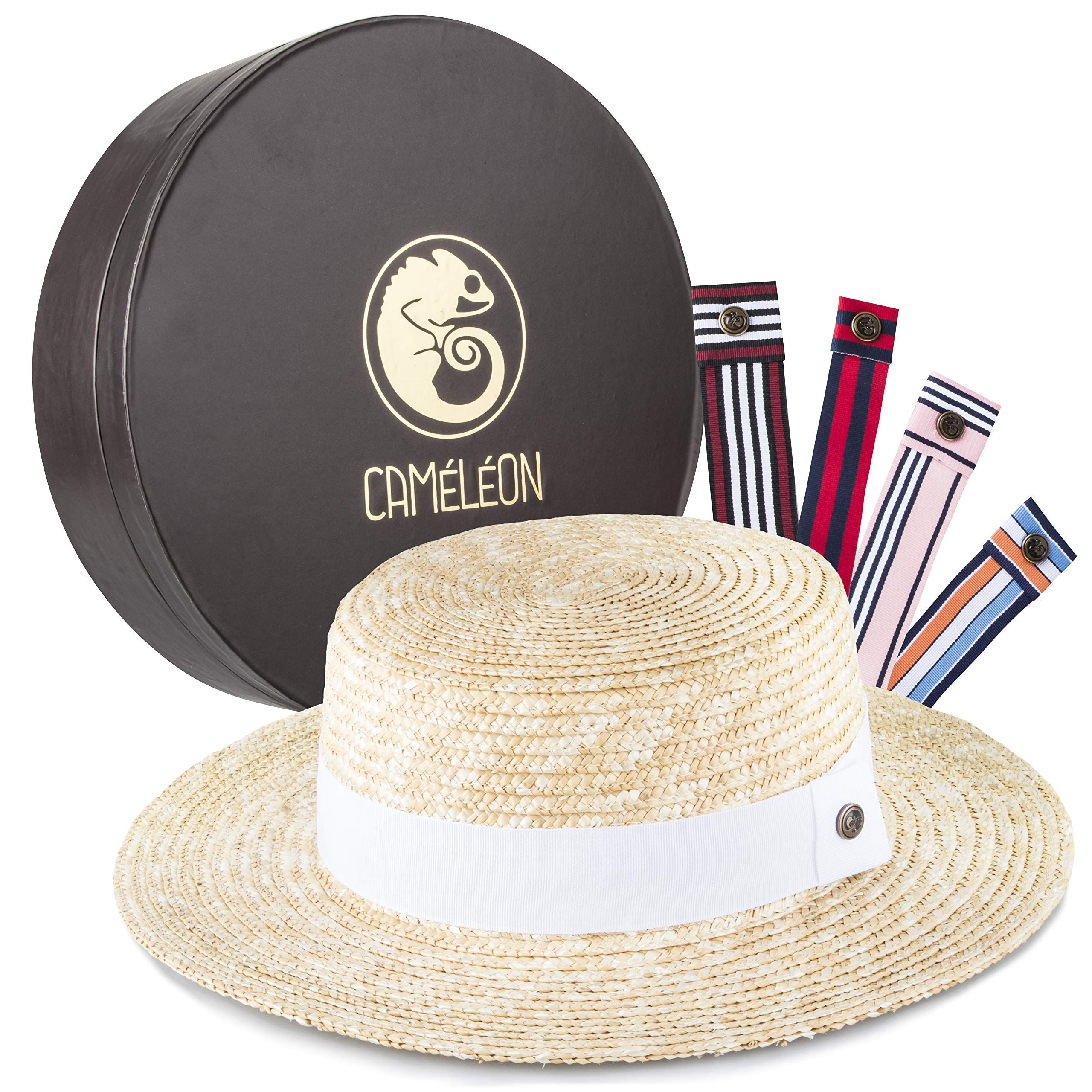CAMÉLÉON (Chameleon) Womens Straw Hat: Packable Braided Wide Brim Straw Sunhat with 5 Interchangeable Colored Bands - Natural  Straw Flat Top Fedora/Boater/Panama Beach Summer Hats for Women