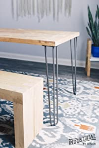 """Industrial By Design - 28"""" Hairpin Legs (Raw Steel, Three-Rod) - Industrial Strength - Mid Century Modern - Set of 4, Great for Table Legs"""