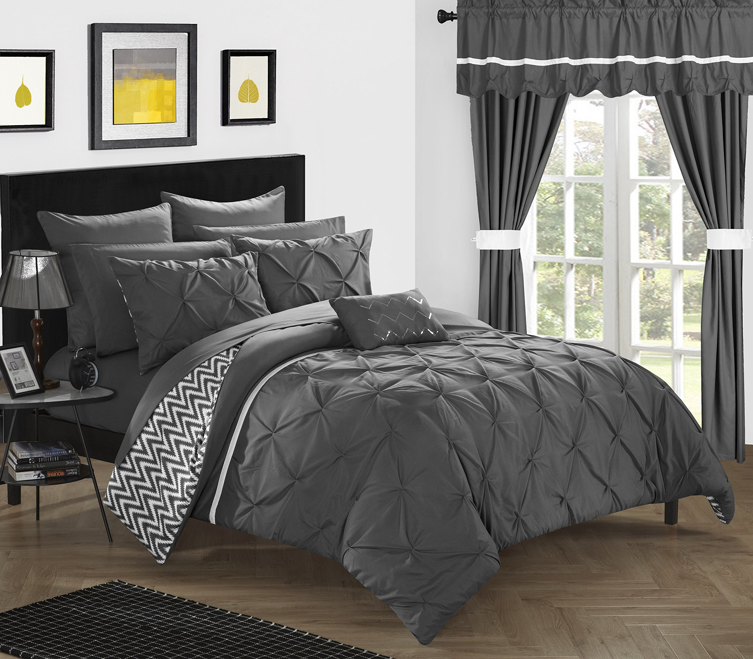 Chic Home CS0586-AN 20 Piece Jacksonville Complete Bed Room In A Bag Super Pinch Pleated Design Reversible Chevron Pattern Comforter Set, Sheet, Window Treatments And Decorative Pillows, Queen, Grey by Chic Home (Image #2)
