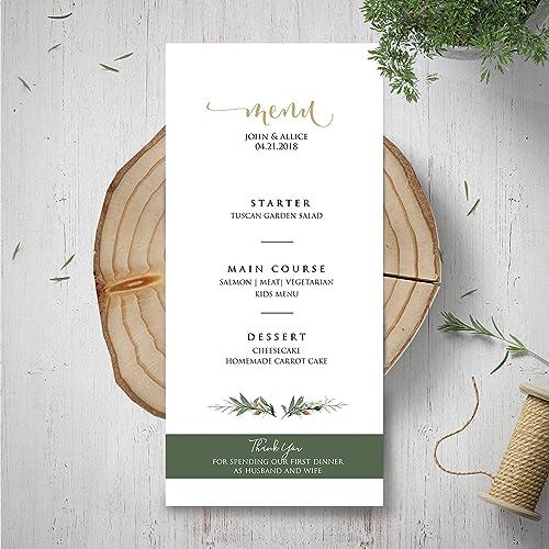 amazon com wedding menu template green menu card garden rustic