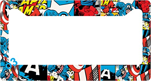 Amazon.com: Captain America Cap Collage License Plate Frame Aluminum ...