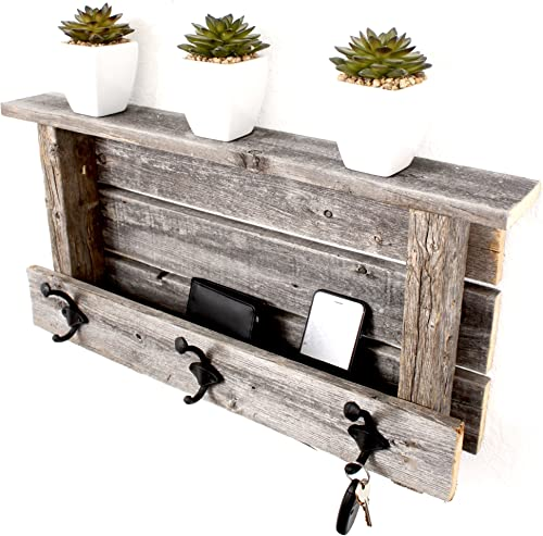 BarnwoodUSA Rustic Wood Farmhouse Shelf with Hooks Weathered Gray
