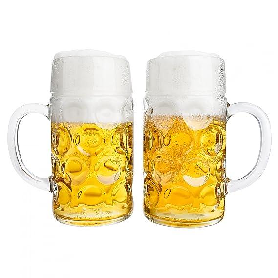 Van Well – Juego de 2 jarra de cerveza (1 L calibrado, grande – Jarra de cerveza con asa, vidrio de cerveza Lavavajillas. Perfecto para gastronomía