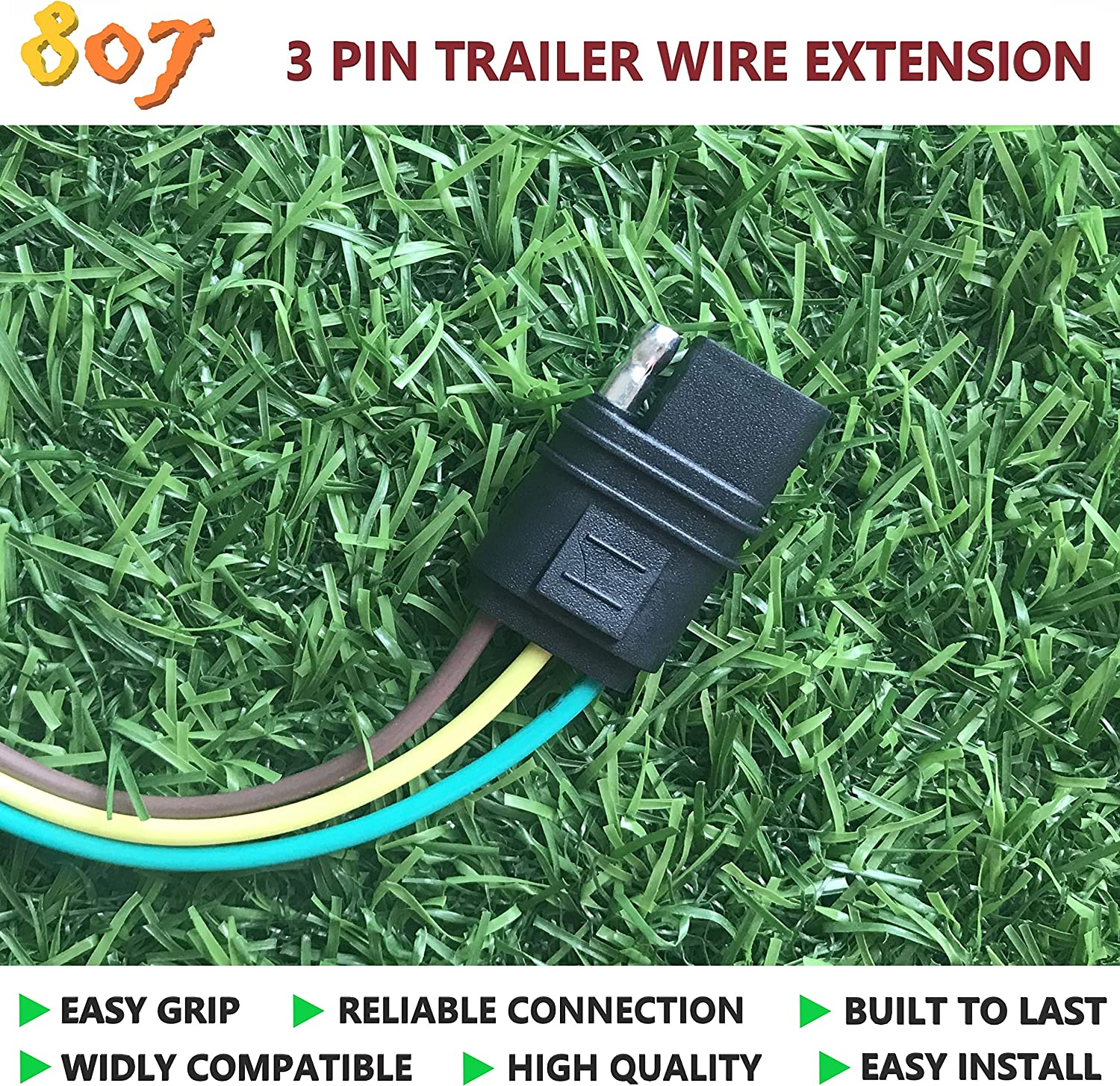 Amazon.com: 807 2/3/4/5/6/8 pin Trailer Connector(3-Way Flat), 2/3/4/5/6/8  Way Trailer Wire Extension 36inchs for LED Brake Tailgate Light Bars,Hitch  Light Trailer Wiring Harness Extension Connector(3 Way Flat): AutomotiveAmazon.com
