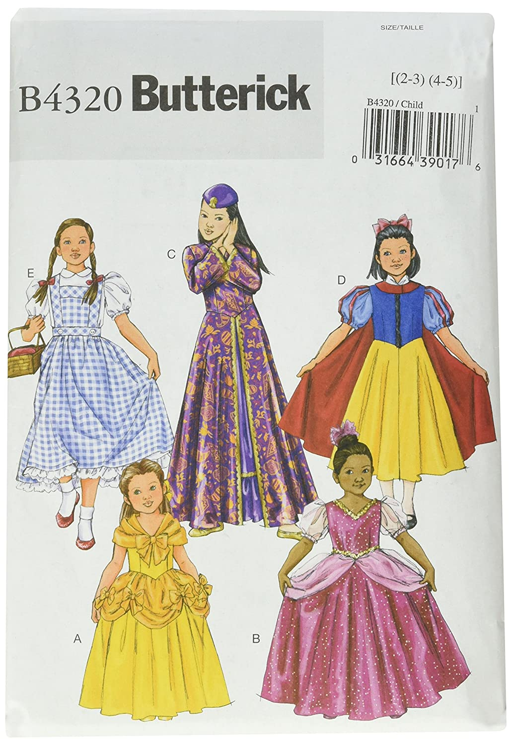 Butterick Patterns B4320 Size CHILD 2-3 4-5 Children's/ Girls' Costume, Pack of 1, White McCall's Patterns B4320CHI