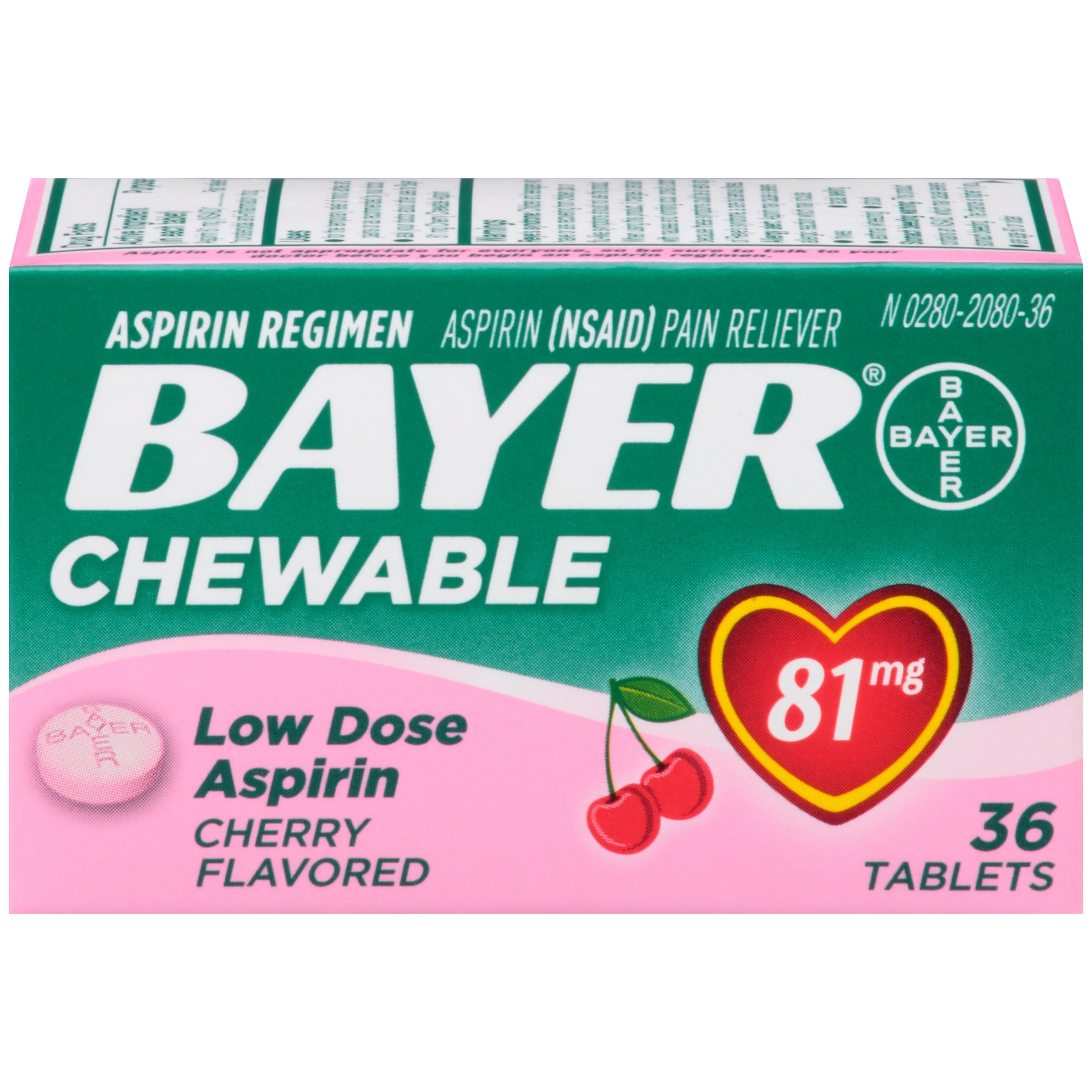 Aspirin Regimen Bayer 81mg Chewable Tablets, #1 Doctor Recommended Aspirin Brand, Pain Reliever, Cherry Flavor, 36 Count