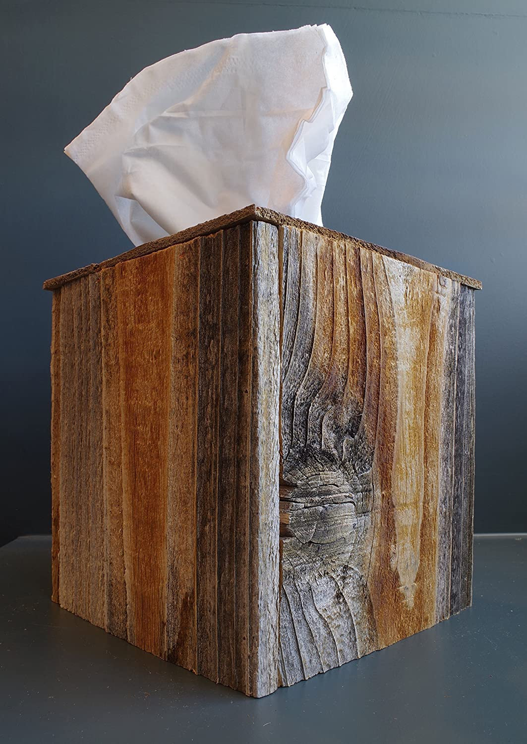 Rustic Reclaimed Barn Wood Square Tissue Box Cover Kleenex Box Holder