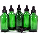 Vivaplex, 6, Green, 4 oz Glass Bottles, with Glass Eye Droppers