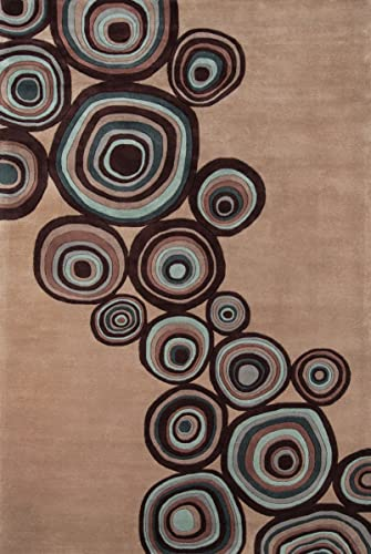 Momeni Rugs New Wave Collection, 100 Wool Hand Carved Tufted Contemporary Area Rug, 9 6 x 13 6 , Mushroom Brown