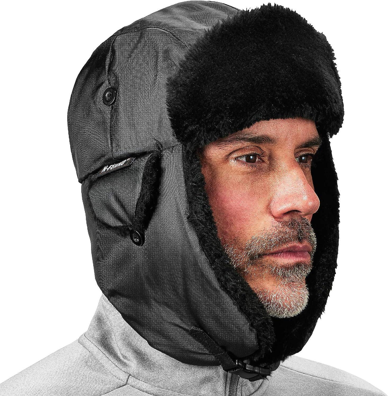 Ergodyne N-Ferno 6802 Thermal Winter Trapper Hat, Black, Small/ Medium