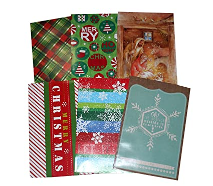 6 pk decorated christmas gift boxes w tissue paper sized 14 1