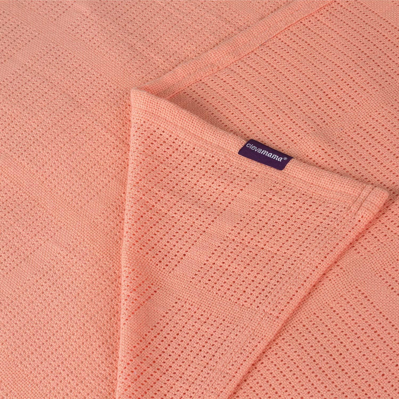 Couverture B/éb/é en Coton pour Landau Poussette Couffin 70x90 Bleu Clevamama Couverture Coton Cellulaire pour Nouveau-N/é