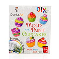 Genius Art Mold and Paint Cupcakes - Girls Design Kit - Arts and Crafts Toys for...