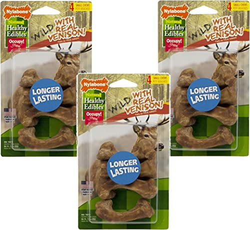 12 Count – Nylabone Healthy Edibles Wild Venison Dog Treat Bones – Size Small 3 Packages with 4 Bones per Package