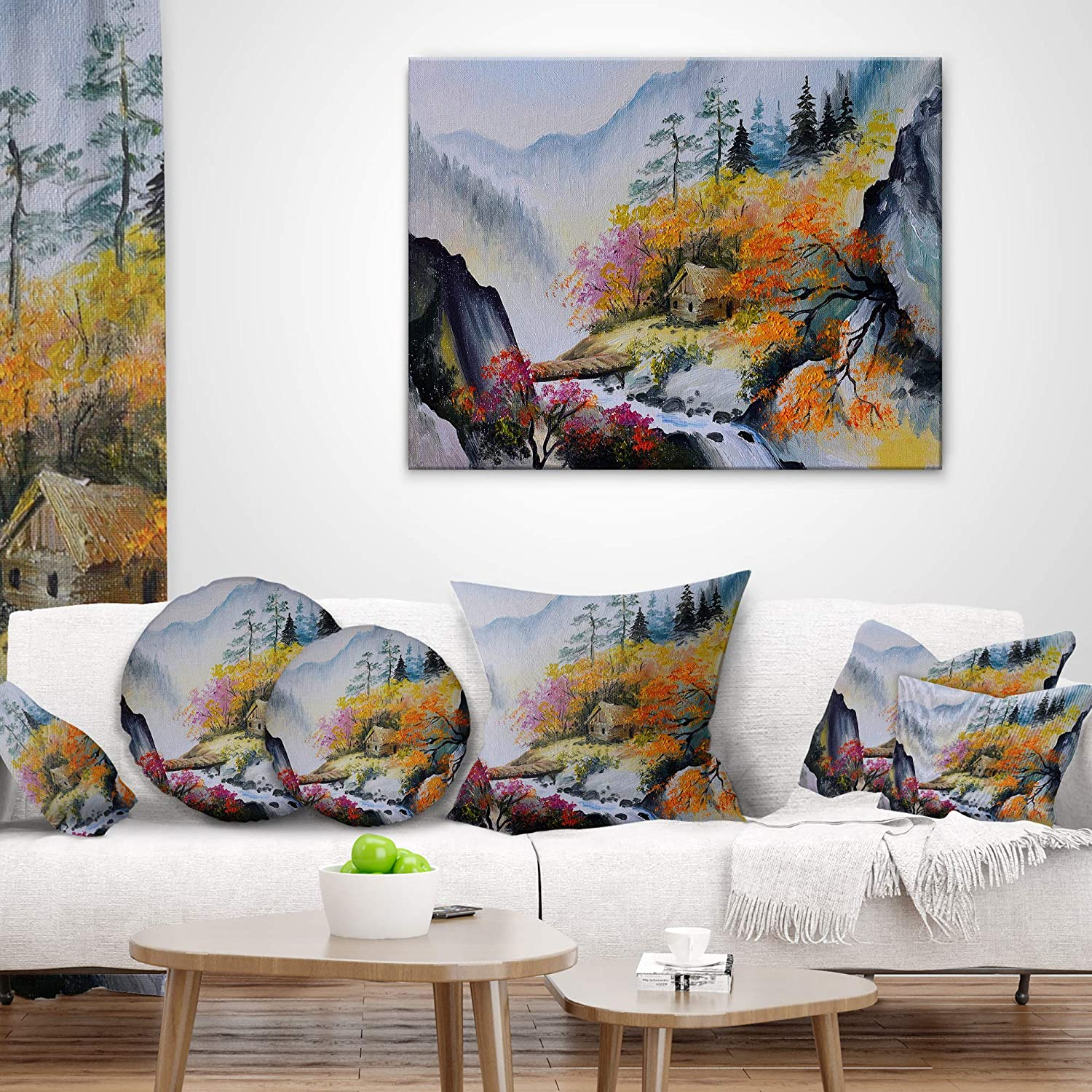 Sofa Throw Pillow 20 Inches Designart CU6248-20-20-C House in The Mountains Landscape Printed Round Cushion Cover for Living Room