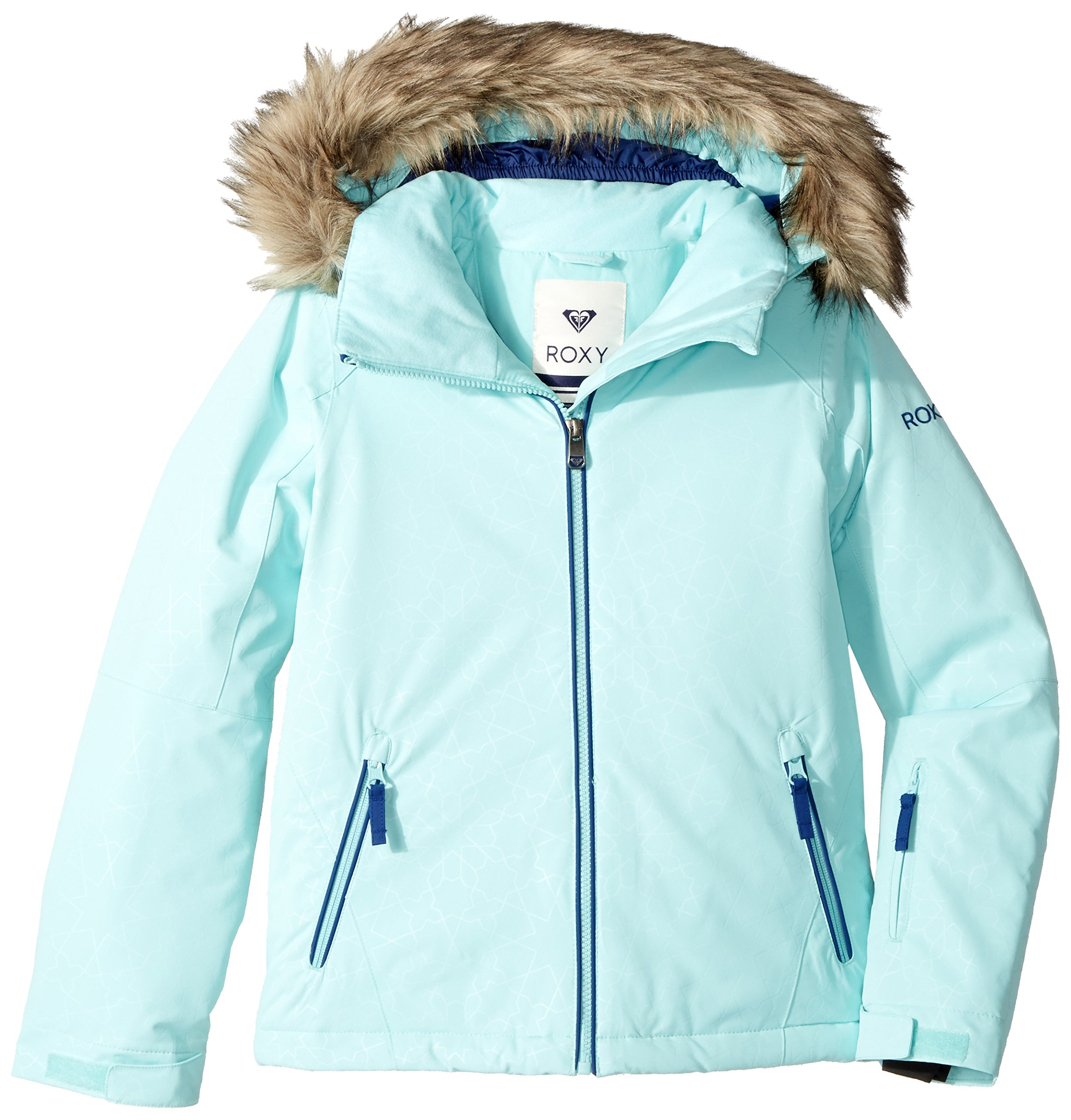 Roxy Big Girls' American Pie Solid Snow Jacket, Aruba Blue_Gana Emboss, 10/Medium by Roxy