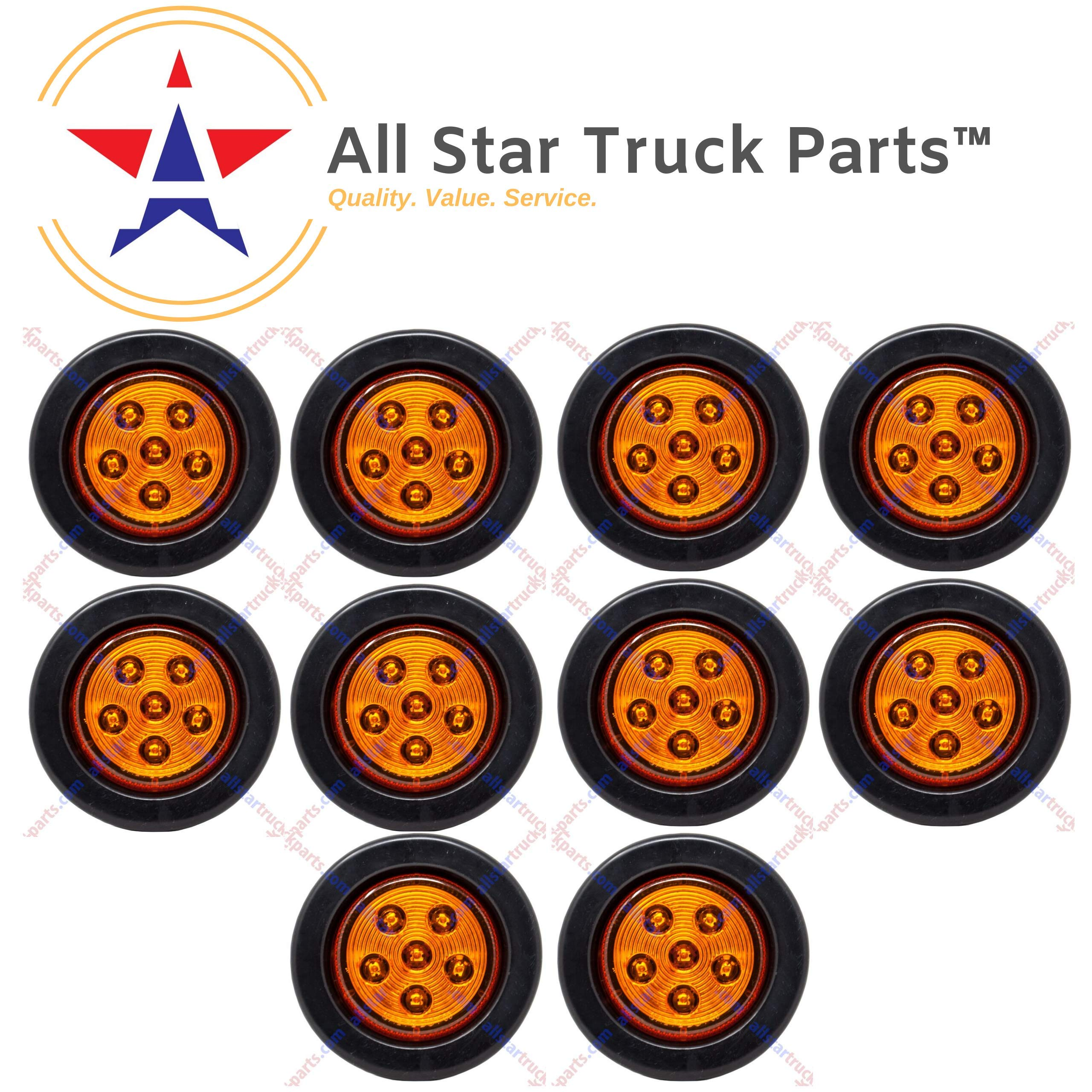 Qty 10-2.5'' Inch Round 6 LED Amber Light Truck Trailer Side Marker Clearance Kit by All Star Truck Parts
