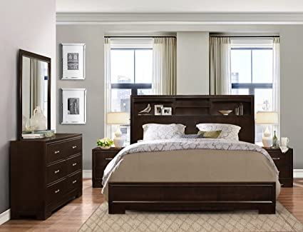 Roundhill Furniture Montana Modern 5 Piece Wood Bedroom Set With Bed,  Dresser, Mirror