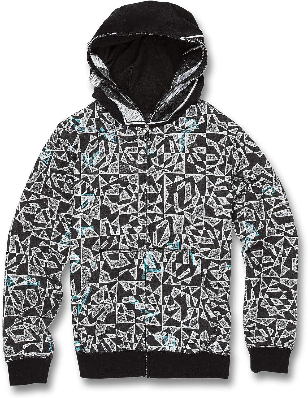 Volcom Grohman Fleece Boys Hoody Zip Black White All Sizes