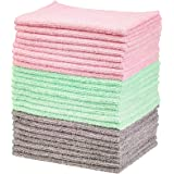 """Amazon Basics Green, Gray and Pink Microfiber Cleaning Cloth 12""""x16"""", 24-Pack"""