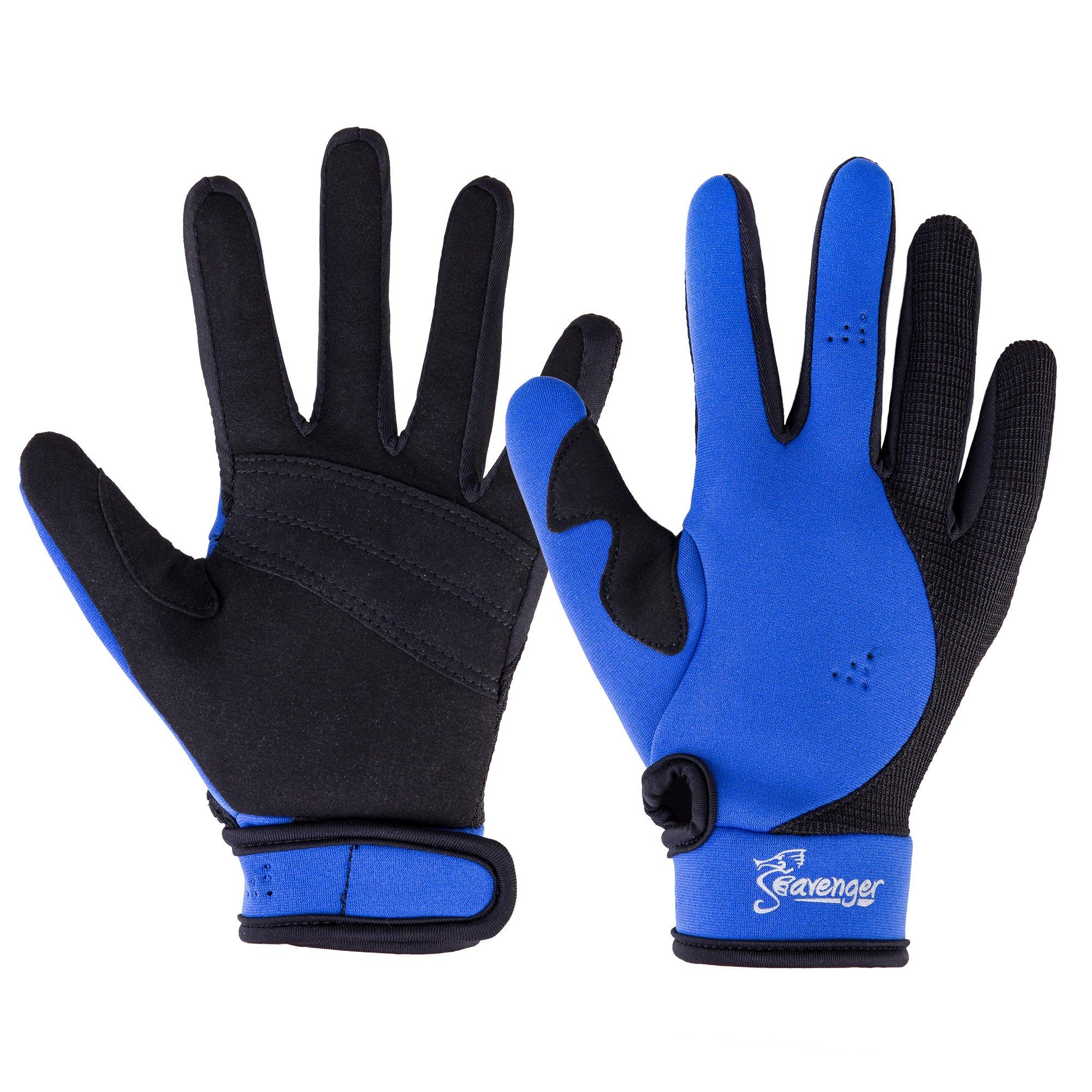 Seavenger Abyss Dive Gloves | 1.5mm Neoprene Mesh | Scuba Diving, Wakeboarding, Spearfishing (Blue, X-Large) by Seavenger
