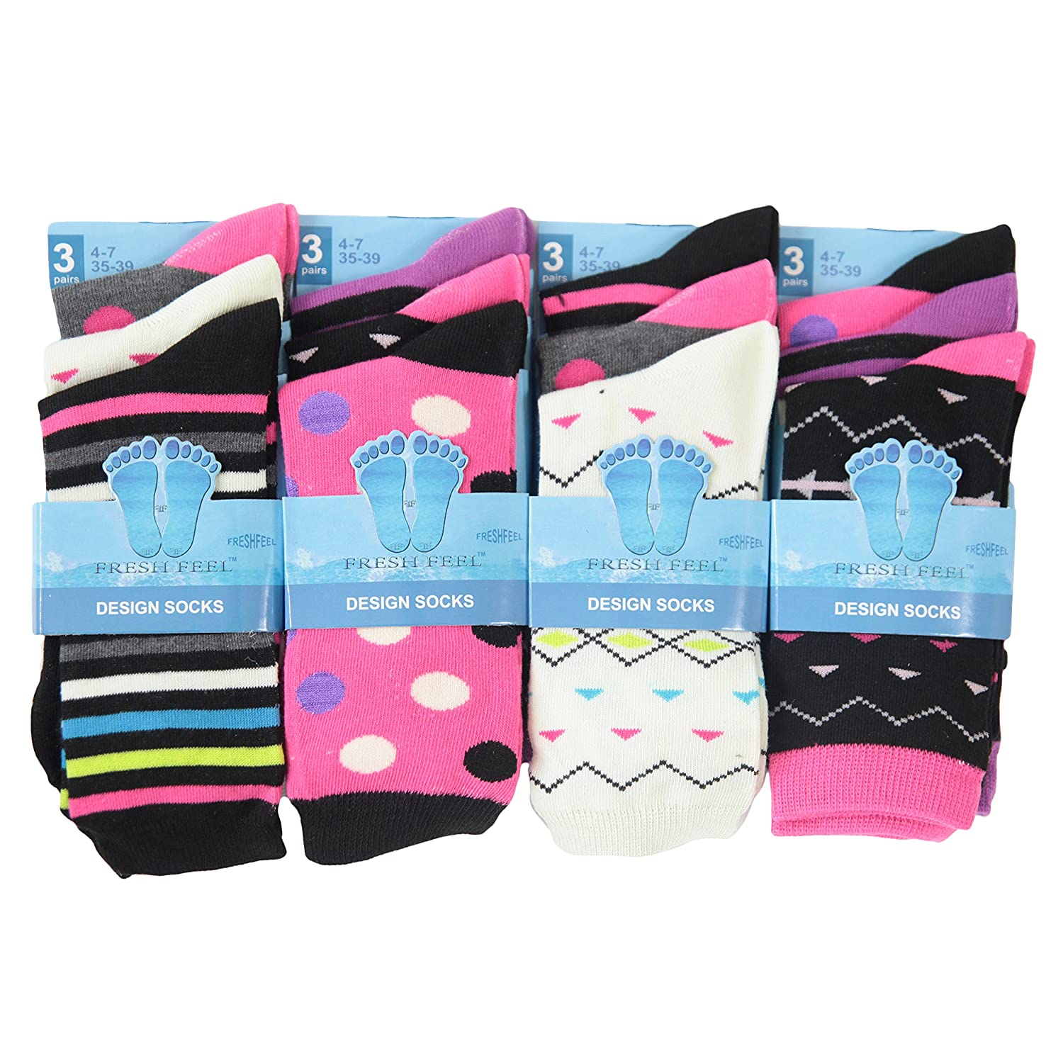 12pairs Ladies Multi Colour Funky Spots Stripes Zig Zag Design Cotton Blend Socks Womens Office Everyday Work Socks