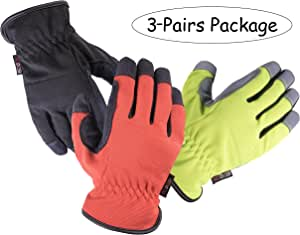 SKYDEERE Armprotec Synthetic Leather Work Glove (3-Pairs Value Pack, Large)