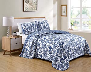 Kids Zone Home Linen Bedspread Set Floral Printed Pattern Blue White with Some Beige New (Full/Queen)